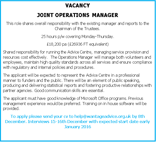 Wantage Job vacancy part time