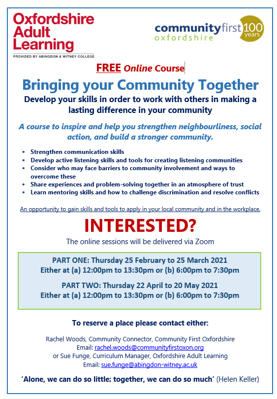 'Bringing your Community Together 2021'- Free online training in collaboration with Oxfordshire Adult Learning feature